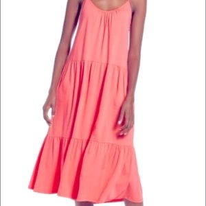All in Favor Coral Tiered Jersey Dress